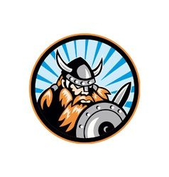Viking Raider Barbarian Warrior Retro vector