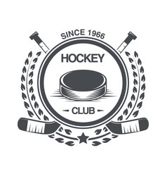 vintage hockey icon in the old style vector image