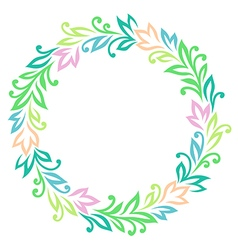 Vintage round frame color vector