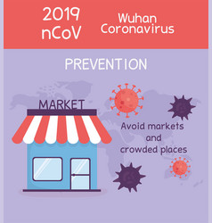 Virus covid 19 prevention avoid markets and vector