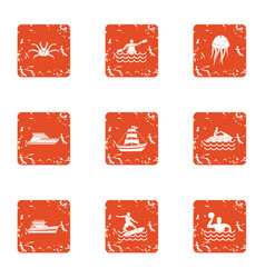water voyage icons set grunge style vector image