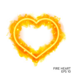 watercolor flaming heart with neon contour vector image