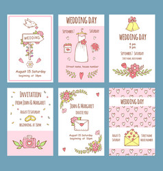 Wedding day invitations various cards for vector
