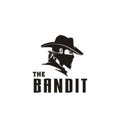 western bandit wild west cowboy bandana mask logo vector image
