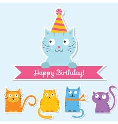 Birthday cat card vector
