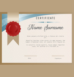 certificate blank template with wax seal vector image