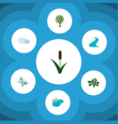 Flat icon nature set of berry overcast monarch vector