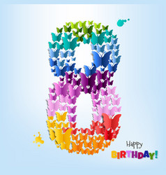happy birthday card eight years vector image