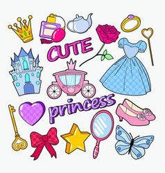 little princess doodle with castle crown and star vector image