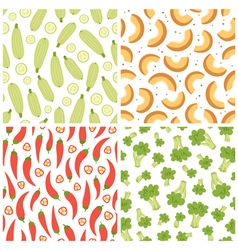 Mixed vegetables seamless patterns set 3 vector image