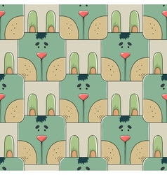 Seamless pattern the face of a cute rabbit vector image vector image