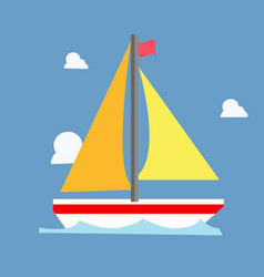yellow sailboat with blue wave and clouds vector image vector image