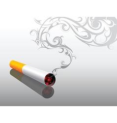Cigarrette with decorative smoke vector image vector image