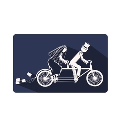 Color silhouette frame with couple just married in vector