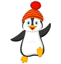 Cute penguin cartoon wearing red hat vector image vector image