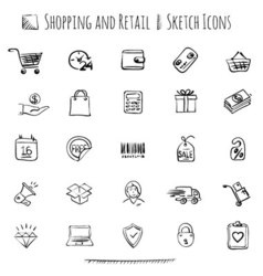 Hand drawn shopping icons vector image