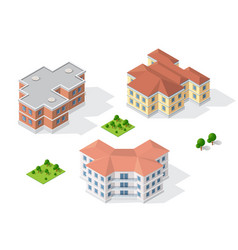 isometric 3d dimensional building of modern vector image vector image