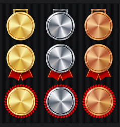 medals blank set realistic first second vector image vector image