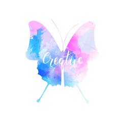watercolored butterfly in blue and pink colors vector image vector image