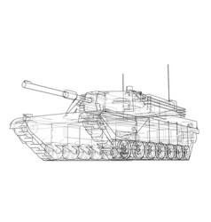 blueprint of realistic tank vector image