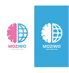 brain and world logo combination education vector image vector image