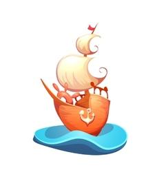 Sail ship in sea vector