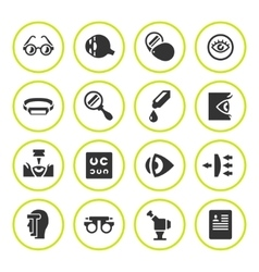 Set round icons of ophthalmology and optometry vector image vector image