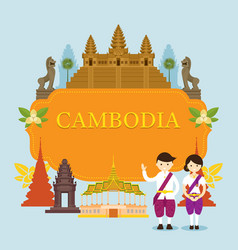 Cambodia landmarks people in traditional vector