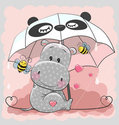 cute hippo with umbrella vector image vector image