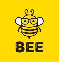 fun cute smart bee in glasses vector image