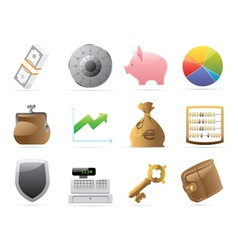 Icons for finance money and security vector image vector image