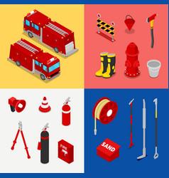 isometric fireman equipment with tank truck vector image