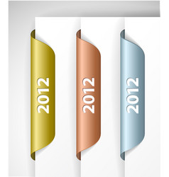 metalic 2012 labels stickers vector image