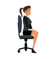 pretty woman sitting chair office work vector image