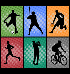 set of sport silhouettes on the colorful vector image