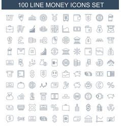 100 money icons vector