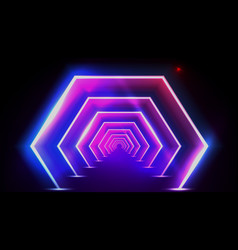 3d abstract fluorescent tunnel or neon teleport vector