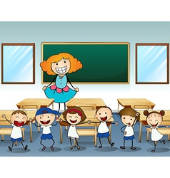 A teacher and her students vector