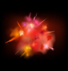 Abstract powder splatted background red powder vector