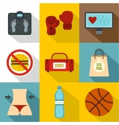 Active sport icons set flat style vector