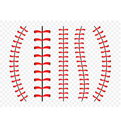 Baseball ball stitches red lace seam isolated on vector