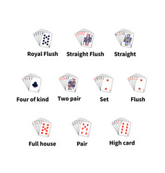 big set of poker cards combination on white vector image