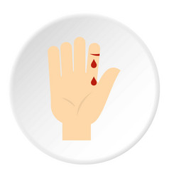 Bleeding human thumb icon circle vector