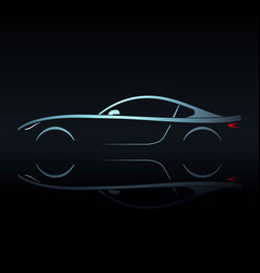 Blue light silhouette sport car vector