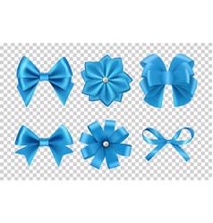 blue satin bows silk ribbon bows with vector image