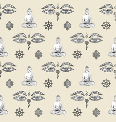 buddhism symbol sign pattern seamless tile vector image