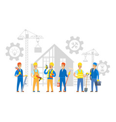 Building process and workers with instruments vector