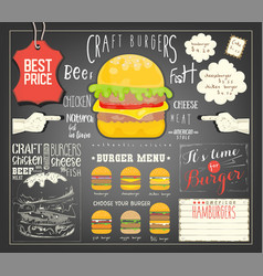 Burger menu template placemat vector