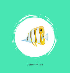 Butterfly fish title poster vector