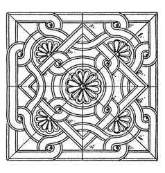 Byzantine square panel is a bas-relief design vector